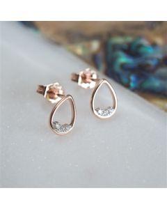 9K Rose gold teardrop diamond earrings