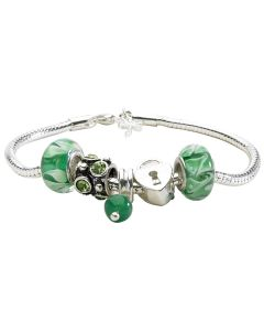 New Womens Silver Plated with Heart Locket  And Green Charm Bracelet