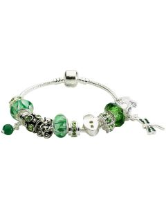 Green Charm Bracelet With 12 Charms Including A Teddy Bear & Twinkling Stones