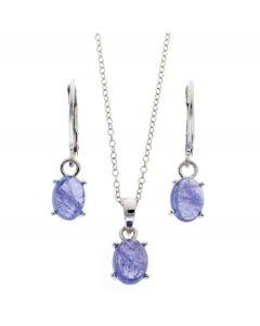 Tanzanite Cabuchon Oval Pendant and Earrings Set