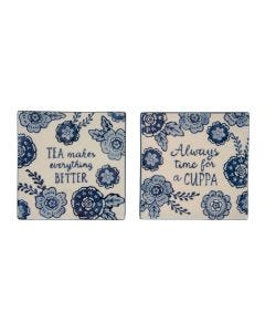 Set Of 2 Blue Floral Tea Makes Everything Better Coasters